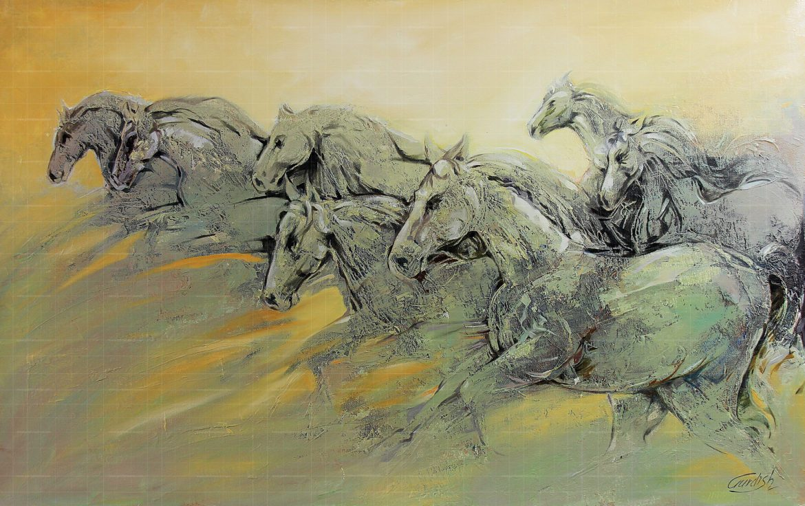 The Seven Running Horse Painting Buy Nature Abstract Paintings